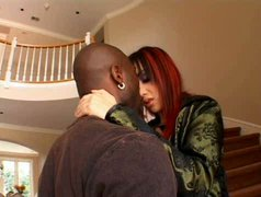 Red-haired bombshell gets her fine ass worshipped by her black lover