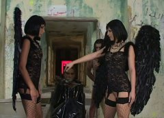 Demonic dark head bitches in sassy black ostumes go nuts in filthy porn clip