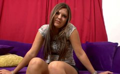 Sizzling long haired brunette Vanessa Lynn boasts with her shabby body