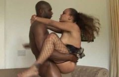 Obese but hot black nympho in fishnet stockings goes wild and sucks BBC
