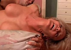 Whorable blond hussy gives head after fuck in sideways pose