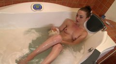 Bootylicious slim brunette takes a hot bath before a hot threesome sex
