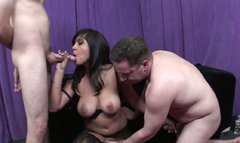 Horn-mad pale and busty black head Jada Sky provides cocks with deepthroats
