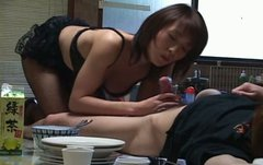 Whorish Japanese MILF Miri Sugihara gives skillful blowjob