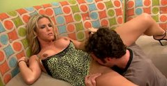 Busty MILF Kayla Sinz gets her muff polished before giving deepthroat bj