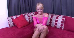 Exotic blonde babe Maya Hills strips teasingly in front of camera