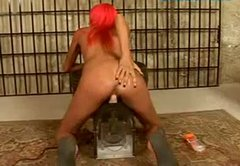 Pink-haired temptress with small tits rides the sybian machine