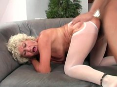 Shameless granny is gets fat pussy creampie after hardcore old young fuck session