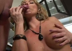 Voracious mommy Angelina is screwed in her ass hole fucking in the kitchen