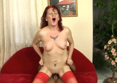 Filthy pale redhead in stockings provide a stud with a blowjob and cock ride