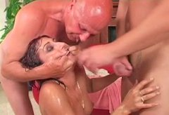 Shabby brunette MILF pisses on horny dads before giving blowjob