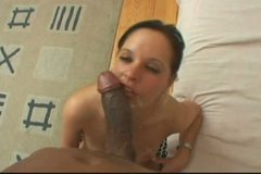Whorish brunette MILF gives a head to kinky dude before he jizzes on her face