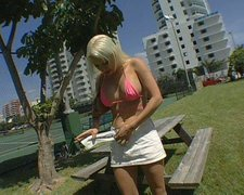 Sporty blonde harlot with big tits gives an amazing blowjob to her man