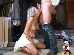 Skanky blond teen gets her muf dived by perverse dude