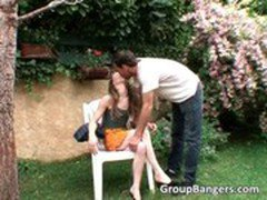 Outdoor threesome pussy and anal fucking