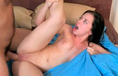 Hot blooded brunette cutie gives blowjob before riding stiff penis