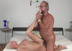 Tattooed voracious blondie rides the dick of ugly old man in glasses