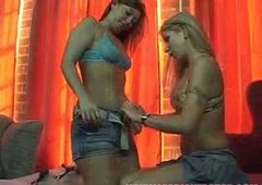 Two peppering lesbians maul each other's perky tits and steamy bodies