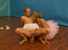 Flexible ballerinas in tutu skirts having passionate lesbian sex