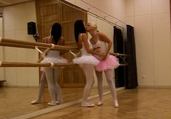 Sweet ballerinas in tutu skirts stripping and teasing one another