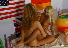 Filthy blond babes are having passionate lesbian sex session with sex toy