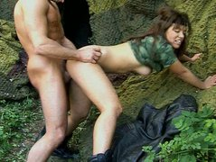 Torrid brunette girl with big natural tits wearing military costume is fucking hard outdoor