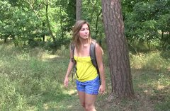 Playful teen solo masturbating in the forest in a hot XXX porn clip
