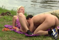 Blond doll Cathy is nailed hard in a missionary position fucking by the river side