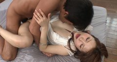 Luscious Japanese babe Maomi Nagasawa hops on horny dude in cowgirl