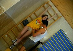 Sporty pale brunette teen in yellow T-shirt sucks a strong hot cock for cum