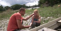 Modest blond teen Kala gets seduced by the fisherman and lets him play with tits