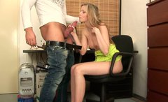 Abby gives awesome deepthroat blowjob in the office