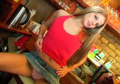 Sizzling girl Daisy strips in the bar