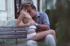 Horny teen with skinny body asks her lover to eat her muff outdoors