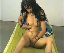 Dirty masturbation solo of amateur Indian MILF in sari