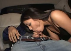 Tipsy happy brunette Alexa rides a strong dick in the limo to reach orgasm