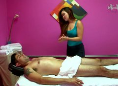 That young brunette guy is having massage therapy from Gina