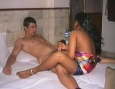 Skinny and horny Indian cutie is pleasing a white man
