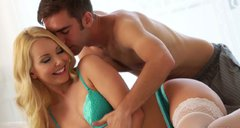 Seductive blonde Aaliyah Love gives hot blowjob to her boyfriend