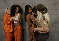 Horny black prisoner Jada Fire seduce a gal to please her twat in front of cops