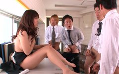 Cum addicted filthy secretary Chinatsu Kurusu is ready to suck three dicks