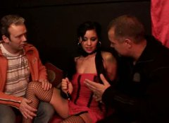 Palatable sexy brunette filth in corset sucks the dick of Ingmar from Sweden
