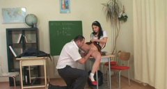 Dumb but hot brunette Kristyna C seduces her teacher to pass the credit