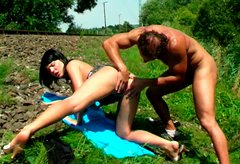 Hussy chick Allisa  sucks dick and gets dirty fucked on the railway