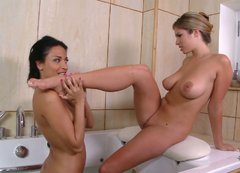 Big breasted lesbians know how to make their bath time more exciting