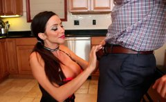 Seductive gal in corset Ariella Ferrera provides a hot cock with a titfuck