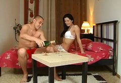 Romantic evening turns into a tough missionary fuck with sexy brunette gal