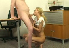 Lucky horny old teacher makes her naughty blond student sucks his dick