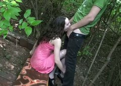 Pale slim curly amateur gal rides a dick for orgasm right in the park