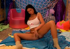 Adorable brunette Rebecca tests her new dildo